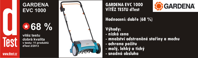 Vertikutátor Gardena EVC 1000 - vítěz testu!