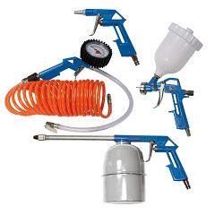 Scheppach sada 5-dílného příslušenství pro kompresory (spirálová hadice s pistolí, manometr, ofukovací pistole, pistole na dutiny a stříkací pistole)